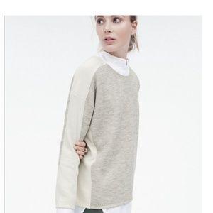 J. Crew Colorblock Jaspe Gray & Cream Sweater